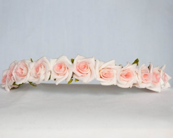 Floral Crown Flower Hairband Headband - Pink Two Tone Roses Wedding Festival Bridal Bridesmaid Flowergirl Special Occasion