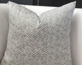 Modern Neutral Gray and White Chevron Pillow Cover - Premier Prints Cameron Storm Grey White Small Chevron Pillow - grey accent pillow