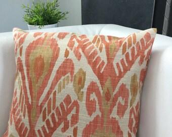Coral and Gold Ikat pillow, ikat decorative pillow cover,  coral  Pillow - ivory with coral and gold ikat design