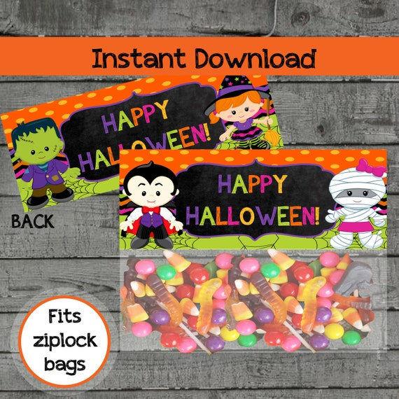 Kids Halloween Treat Bag Toppers Party by PartyPrintableInvite