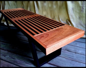 "Mid Century Slat Bench...""Daiku"" in Solid Jatoba (Brazilian Cherry) Eames Era...George Nelson Style with Cantilevered Platforms"