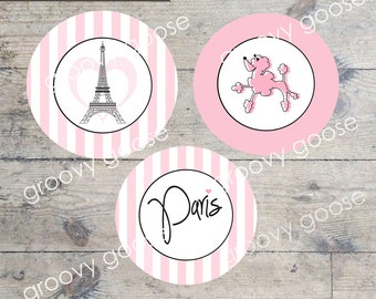 PARIS POODLE cupcake toppers PRINTABLE cupcake toppers  Envelope Seals  Stickers Paris Theme Party