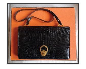 HERMES crocodile leather bag / bag Hermès crocodile Porosus black/bag Hermes model Ring.
