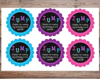 Jump Cupcake Toppers, Jump Favor Tags, Bounce House Party, Jump Party, Favor Tags, Bounce Party