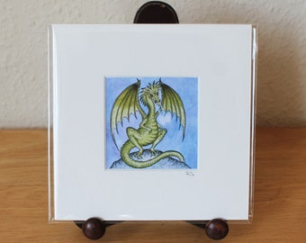 Dragon Mounted Mini Print, Green Dragon Small Square Artwork, Fantasy, Ready for Framing (Frame not supplied).