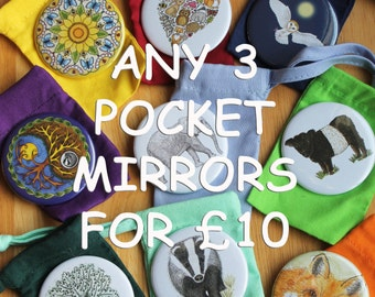 Mixed Selection Offer Any Three Of My Nature Wildlife Pocket Mirrors