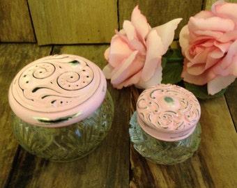 bottles-bottle-cold cream bottle-pink bottle-avon bottle-shabby chic decor-painted bottles-pretty bottles-distressed bottles-container-pink