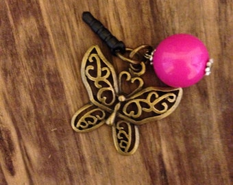 Butterfly cell Phone mobile tablet plug charm
