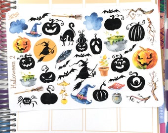 Halloween 2 stickers - for use with Erin Condren Happy Planner - fall autumn October pumpkin bats ghosts
