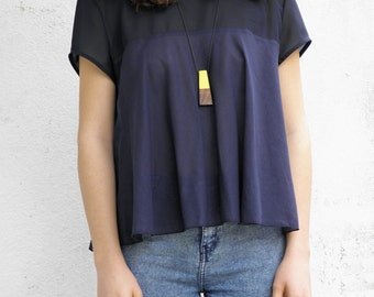 Handmade cotton blue blouse, summer blue top made of cotton and chiffon ,  women loose blouse