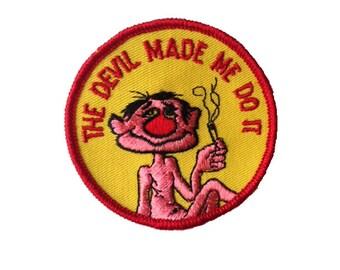 Vintage Devil Made Me Do It Patch