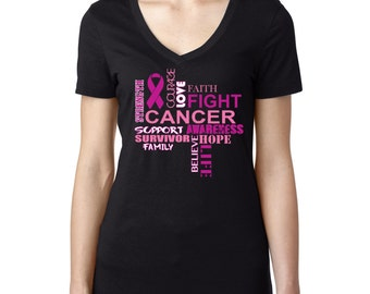 Breast Cancer Fight Slogan Ladies V-Neck T-shirt Breast Cancer Awareness Shirts
