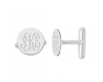 Initials Cufflinks, 925 Sterling Silver Personalized Cufflinks, Custom Engraved Wedding Cufflinks, Cuff Links Personalized, Groom Cufflinks,