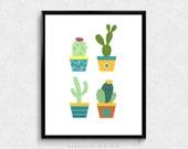 SALE -  Set Of Cactus, Nature Print, Baby Cactus, Nature Pot, Cactus Illustrations, Pastel Color, Nursery Print, Modernism, Simplicity
