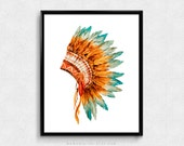 SALE -  Indian Headdress, Watercolor, Tribal Print, Cultural Poster, Vintage Poster, Brown Turquoise Teal, Dorm, Feather Illustration