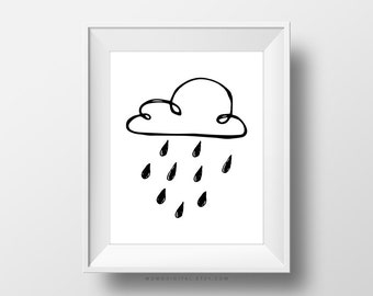 SALE -  Doodle Rain, Hand Drawn Drawing Sketch, Black White, Modernism Poster Print, Weather Decoration, Baby Nursery, Boy Girl Art