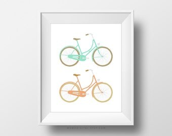 SALE -  Coral Teal Bicycles, Bike Set, Nursery Print, Baby Boy Print, Baby Girl Poster, Modernism, Summer Poster, Spring Time, Aqua