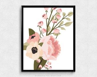 SALE -  Shabby Chic Flower, Floral Print, Floral Poster, Pink Art Print, Nursery Art Poster, Dorm Print, Girly Girl Art, Nature Poster