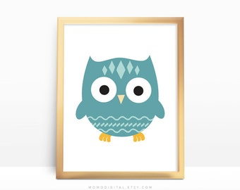 SALE -  Turquoise Owl, Baby Owl, Baby Boy Nursery, Nursery Print, Cartoon Owl, Owl Print, Owl Poster, Turquoise Print, Modernism