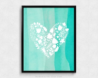 SALE -  Teal Turquoise Watercolor, White Floral Heart Pattern, Nature, Baby Girl Nursery, Dorm, Guest Room, White Outline, Silhouette