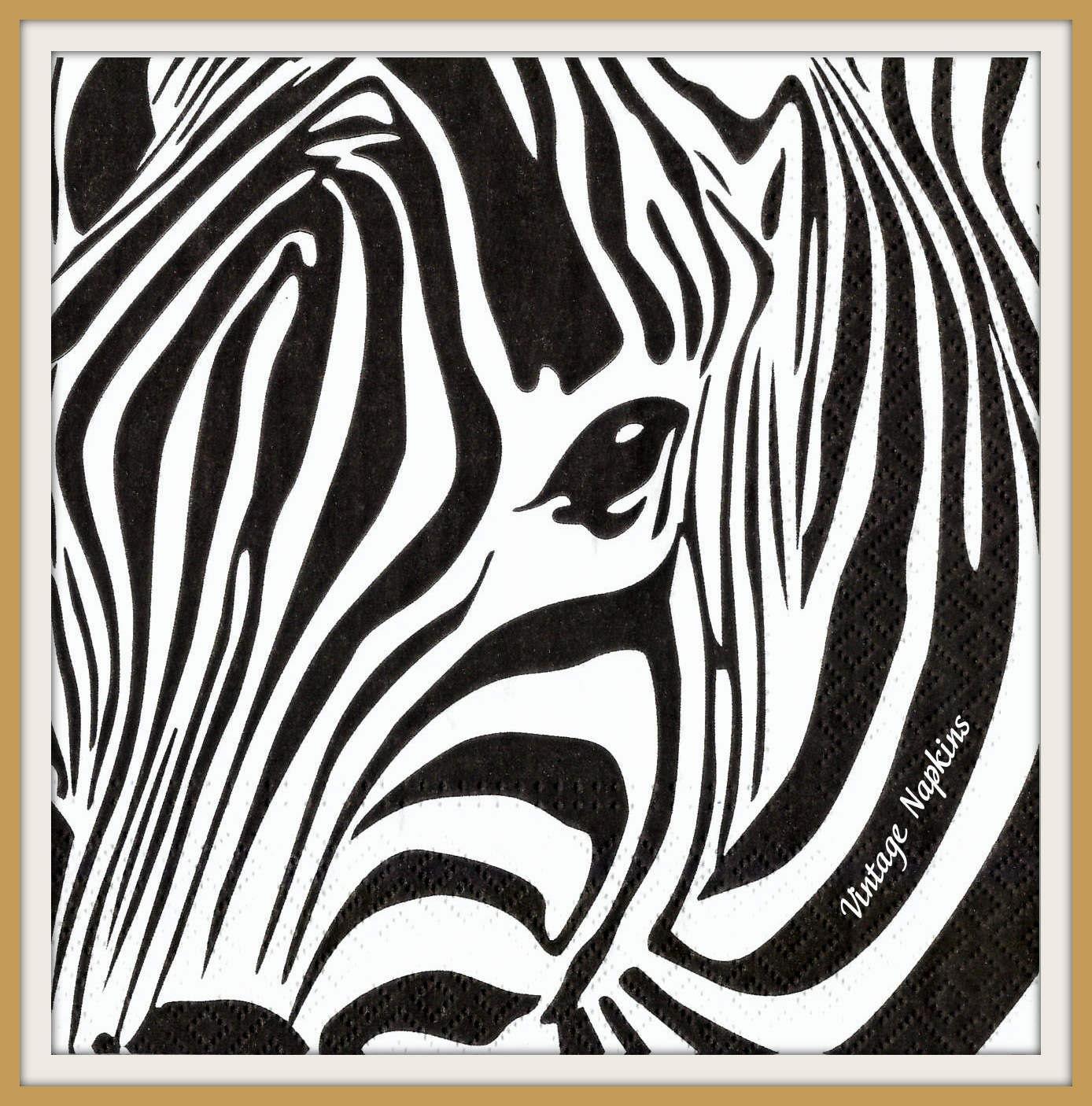 2 paper napkins for decoupage zebra black and by vintagenapkins. Black Bedroom Furniture Sets. Home Design Ideas