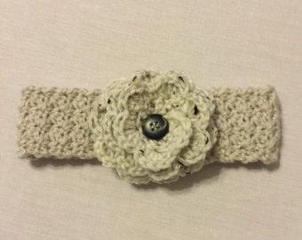 Crochet Earwarmer or Headband with Flower