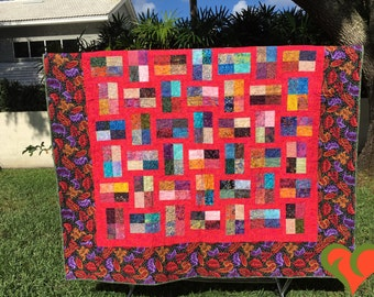 Kaffe Fassett and Batik Modern Queen Sized Quilt in Red. Handmade One of A Kind Quilt.