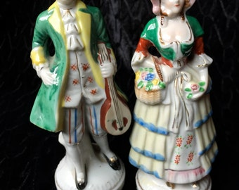 Occupied Japan 1940s Porcelain  Victorian-Couple Figurines