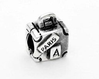 1 Paris Suitcase Silver Charm Travel European Style Beads for European Bracelets Earth Map - 8a