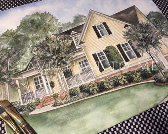 """11"""" x 14"""" Custom Watercolor House Rendering"""