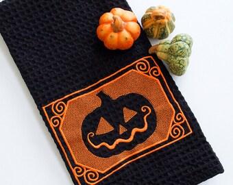 Embossed Jack O'Lantern Kitchen Towel pumpkin Halloween autumn fall dish towel gift for ten dollars