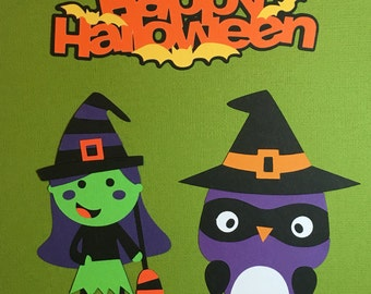 Set of 3 Halloween Die Cuts. Scrapbooking Embellishments. Paper Crafting. Halloween Diecuts. Halloween Accessories. Halloween Scrapbook