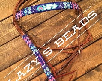 Custom beaded browband headstall