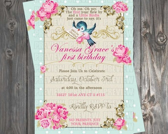 Shabby Chic Birdie Birthday Invitation