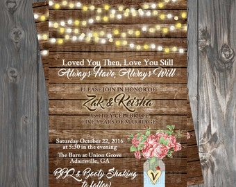 Rustic Vow Renewal/Bridal Shower Invitation