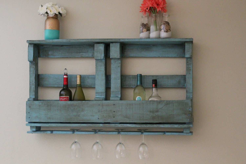 Rustic distressed teal pallet rack wine rack pallet wine for Pallet wine cabinet