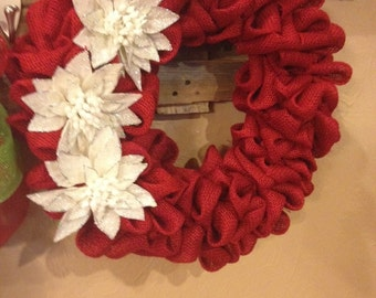 Christmas glittered flower wreath