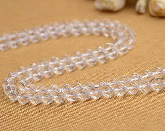 "Natural Faceted Rock Crystal Quartz Beads Round Clare Crystal Cut Bead 13.8"" Full Strand 6mm 8mm 10mm 12mm 14mm Optional  B001"