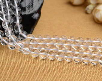"""Natural Rock Crystal Quartz Beads Round Clear Quartz Beads Roundness Bead 2mm to 20mm 15"""" Full Strand Jewelry Gemstone Beads Wholesale B019"""
