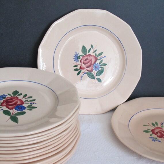 digoin sarreguemines 6 plates vintage france by crazyfrenchvintage. Black Bedroom Furniture Sets. Home Design Ideas