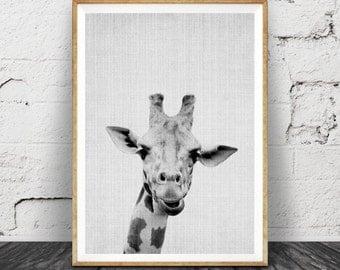 Safari Nursery, Giraffe Animal Print, Boys Room Wall Art, Kids Large Printable Poster, Safari Baby Shower, African Animal, Black and White