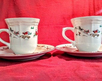 Farberware White Christmas  2Teacups and 2 Saucers