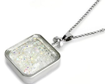 Square Bottle Filled With Swarovski AB Crystals On A Necklace