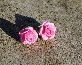 Fabric Flowers Stud Earrings