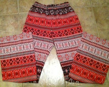 70s Loud Pattern Polyester Pants Roller Disco Hippie Boho Bell Bottom