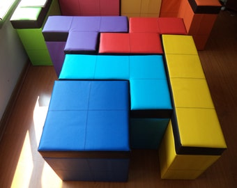"""Set of 5 pieces of tetris shaped Storage Benches  50cm high or 19.68"""" high"""