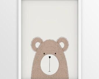 Hand drawn Bear Print, Illustration Of Bear, Vector sketch Bear, Woodlands Nursery Decor, Bear Printable, Animal nursery art, Bear print