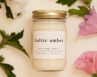 Baltic Amber 12 oz candle - Amber Soy Candle - Gifts for her