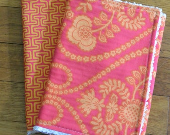 set of 2 bright pink and orange baby girls chenille burp cloths