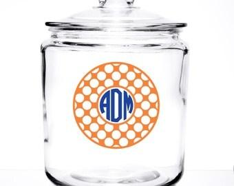 Monogrammed Glass Cookie/Pet Treat  - Mosaic Design